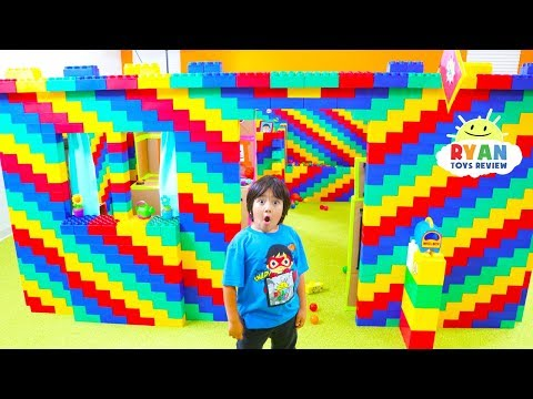 24 hours Giant lego box fort house with Ryan