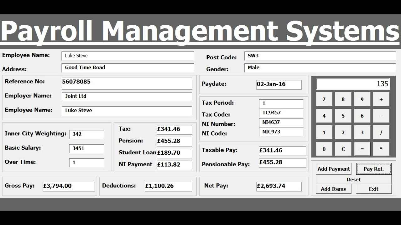 How To Create Payroll Management Systems In Excel Using