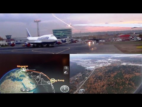 第一次乘機場快線列車 俄羅斯航機上 降落莫斯科機場 - YouTube