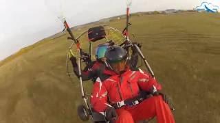 Вынужденная посадка на паралёте в предельно сильный ветер. Попали в клин холодного фронта.