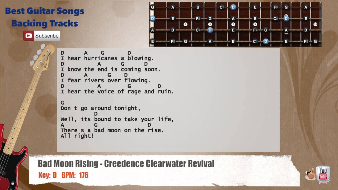 Bad Moon Rising Creedence Clearwater Revival Bass Backing Track