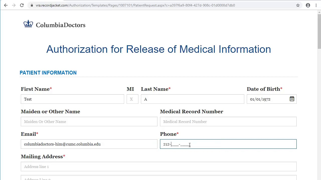 Request Medical Records   ColumbiaDoctors   New York