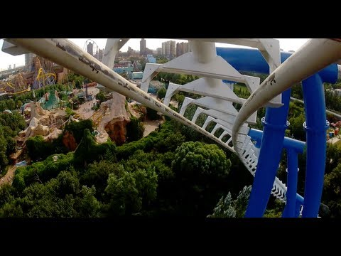 Golden Wings Roller Coaster POV Happy Valley Beijing China REAL Vekoma SLC! 雪域金翅