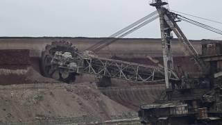 Giant machines. The work walking bucket wheel excavator