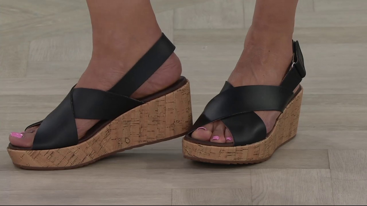 3b1a2ca60e8 Clarks Leather Cross Band Wedge Sandals - Stasha Hale on QVC - YouTube