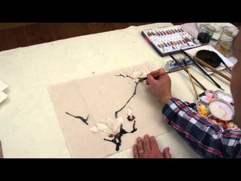 Henry Li's Supplementary Demo to Lesson 23: White Magnolia on Hemp Paper