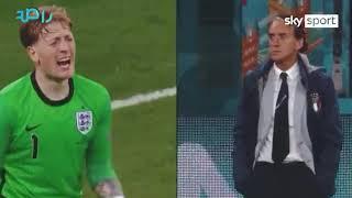 جميع ردات فعل مدرب ايطاليا مانشيني في نهائي كأس اليورو ضد انجلترا