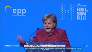 Angela Merkel auf dem EVP-Parteitag in Helsinki am 08.11.18
