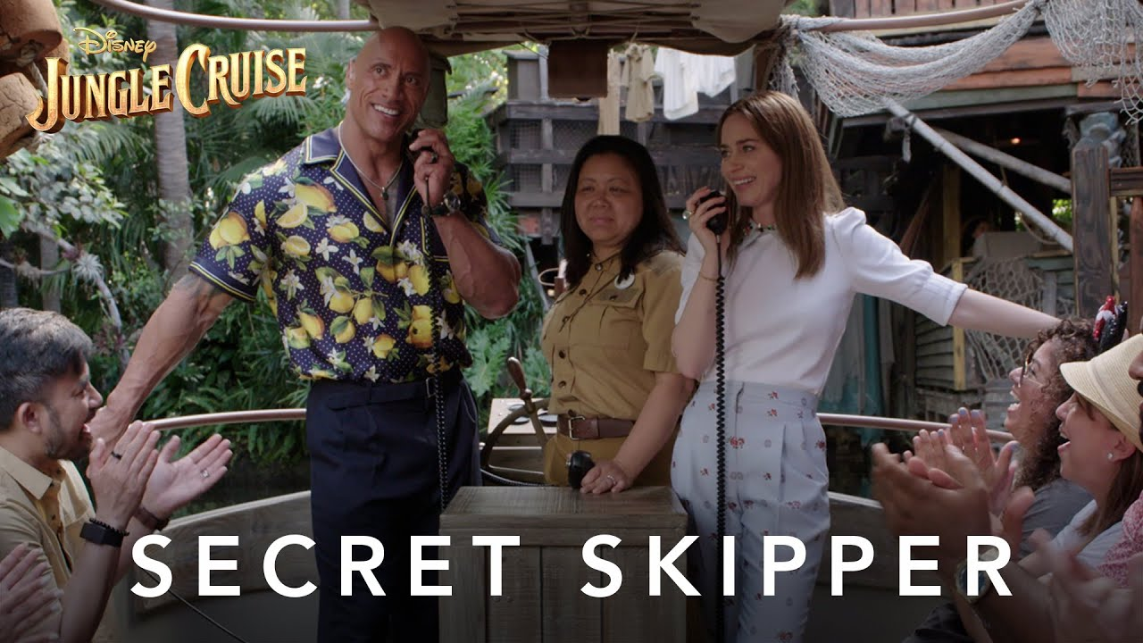 'Secret Skippers'  Dwayne Johnson & Emily Blunt Surprise Disneyland Guests on The Jungle Cruise Ride