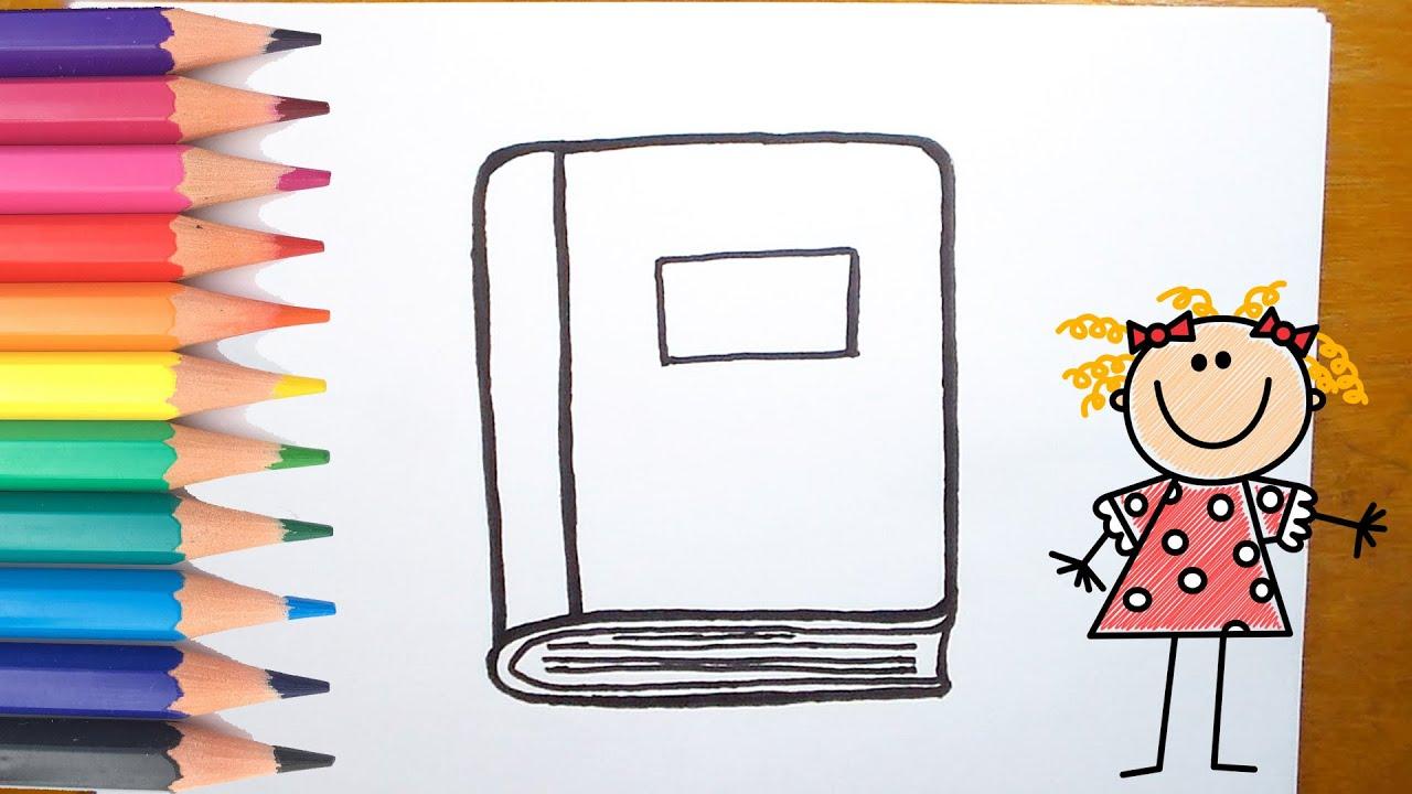 كيفية رسم كتاب للاطفال رسم كتاب للتلوين تعليم الرسم للاطفال 11 Youtube