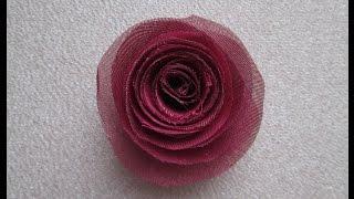 Роза из ткани своими руками Украшения / цветы для скрапбукинга / Мастер-класс(Видео о том как сделать простую спиральную розу из органзы или шифона., 2016-03-27T17:05:24.000Z)