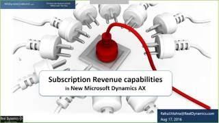 Abonnement Revenue Recognition in der Neuen Dynamics AX