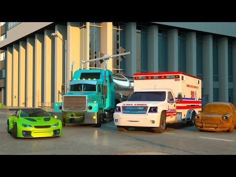 Смотреть мультфильм спортивная тачка полицейская машина и скорая помощь