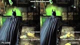 Batman Arkham City - Dx11 vs Dx9 ((SPLIT SCREEN))