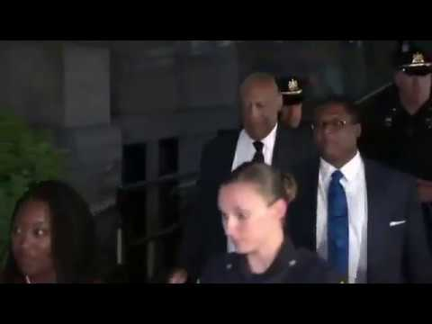 "Bill Cosby yells ""Hey, hey, hey"" mimicking Fat Albert as he leaves court Tuesday night"