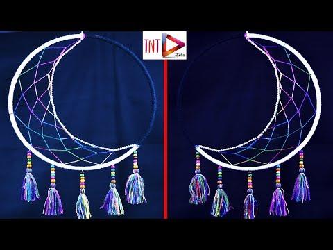 DIY Crescent Moon Dream Catcher Tutorial Easy | How To Make Half Moon Dreamcatcher