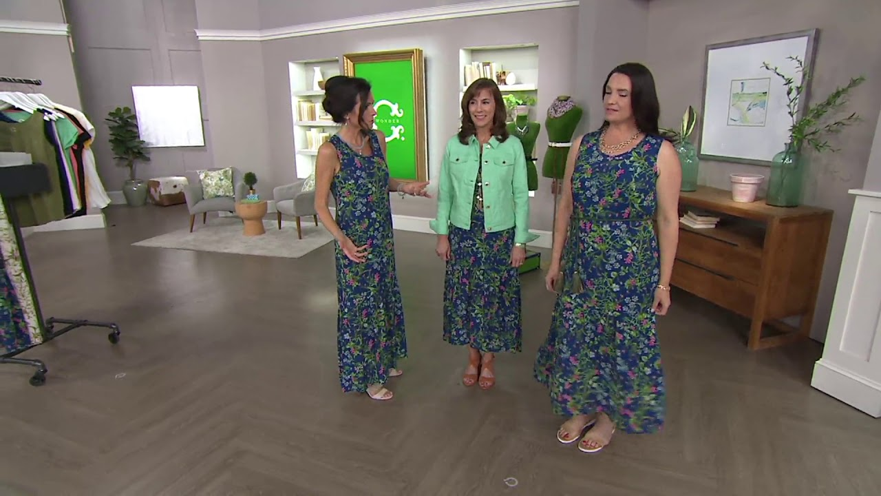 476b144e8a8 C. Wonder Botanical Floral Print Maxi Dress with Ruffle Hem on QVC ...