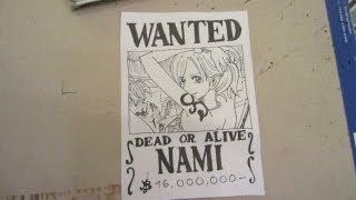 How to draw wanted poster of Nami ナミ