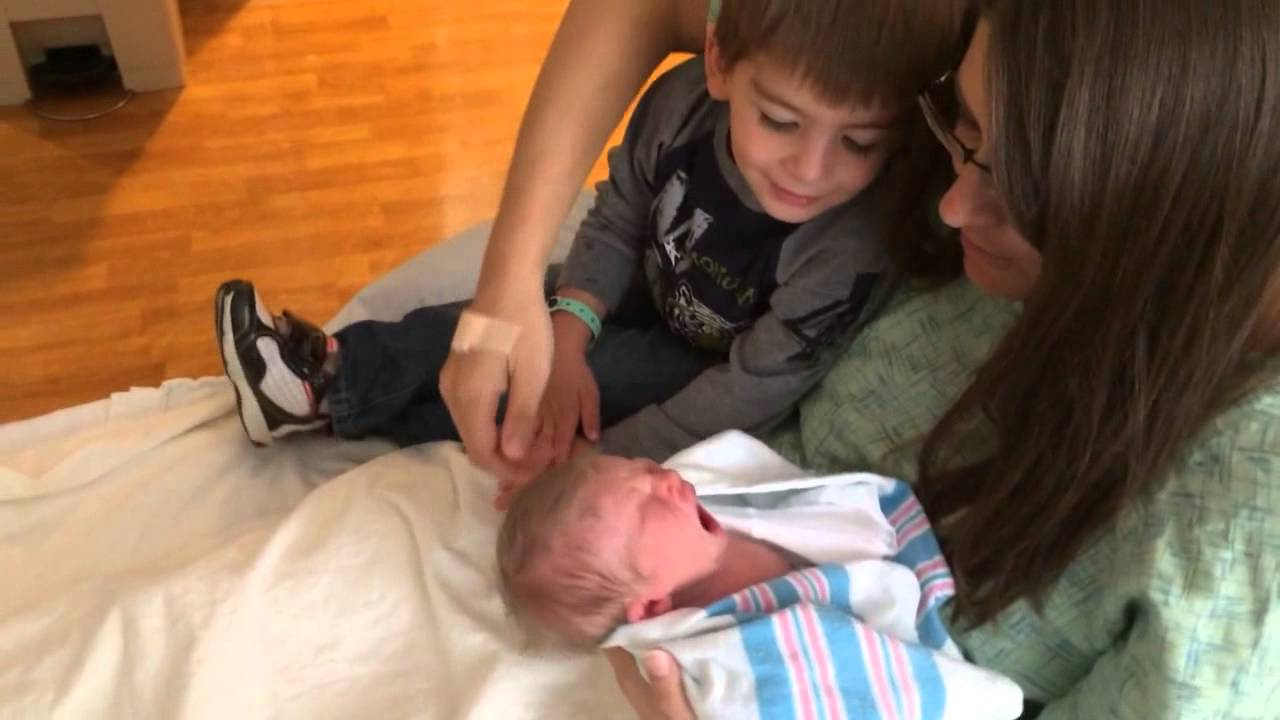 Big Brother Mason Meeting Little Sister Brianna For The First Time