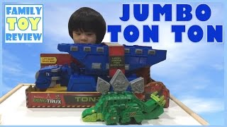 DinoTrux Toy Ton Ton Lift Dump Truck Bed Toy Giant TonTon Season 2 Episode by FamilyToyReview