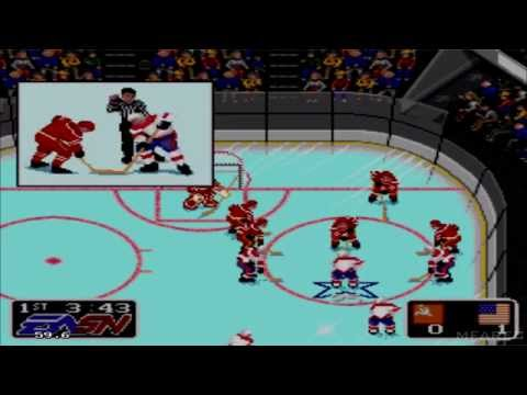 NHL Hockey 91 Gameplay Soviet Union vs United States (Sega Mega Drive/Genesis)