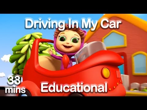 I'm Driving In My Car (Learn Colors,  Vehicles, & Opposites) + Educational Nursery Rhymes (33 mins)