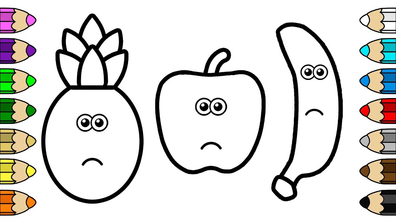 coloring for baby  crying apple banana & pineapple