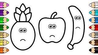 Coloring for Baby with Crying Apple, Banana & Pineapple - Colouring Book for Kids