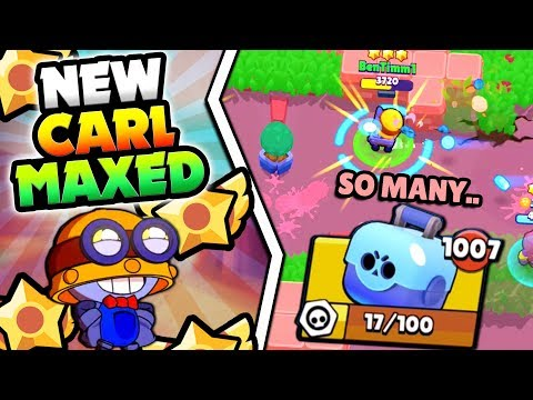 CARL MAXED! TOOK SO MANY BOXES... NEW CARL STAR POWER GAMEPLAY IN BRAWL STARS! MAX CARL GAMEPLAY!