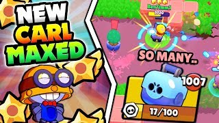 CARL MAXED! TOOK SO MANY BOXES... NEW CARL STAR POWER GAMEPLAY IN BRAWL STARS! MAX CARL GAMEPLAY! thumbnail
