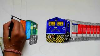 Ashram Express with WDP4D Celebration Loco crossing Double Stack container Rake - Painting