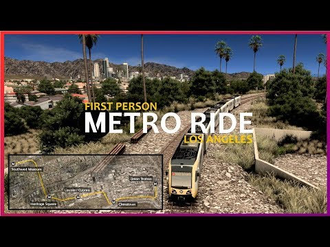 Cities: Skylines - Realistic first person metro ride: Los Angeles (inspired city) gold line (4k)