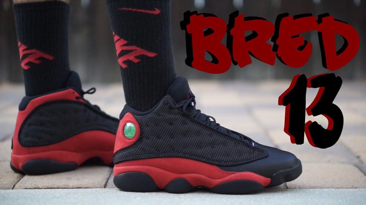 2017 Jordan 13 Bred on feet - YouTube