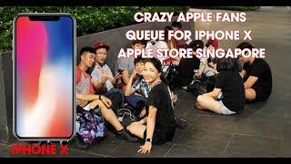 Crazy Apple Fans queue for iPhone X Apple Store Singapore