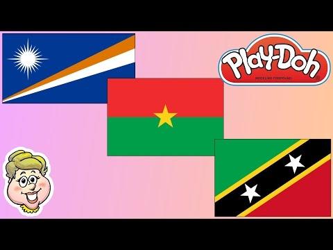 Play-Doh Flags! Marshall Islands, Burkina Faso, and St. Kitts & Nevis! EWMJ #374