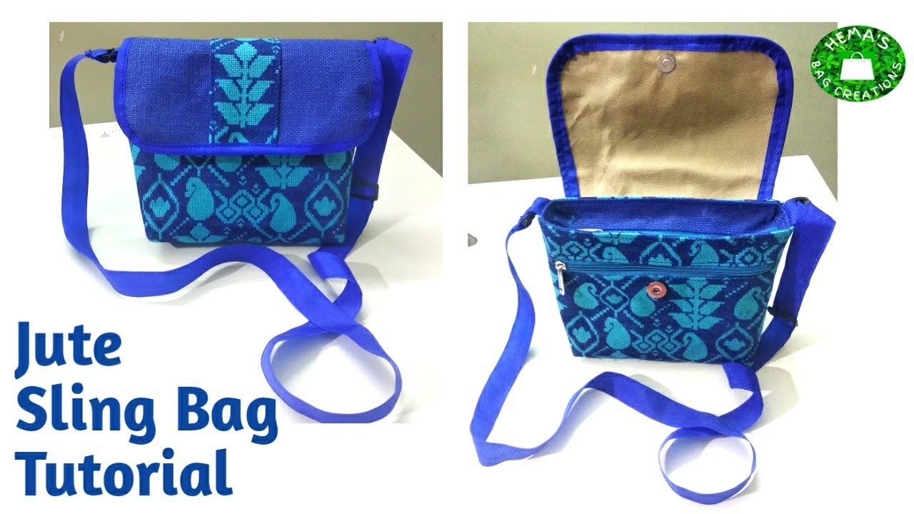 DIY #Jute Sling Bag Making At Home/How To  Make Simple #sidebag #slingbag/#zipper sling bag sewing