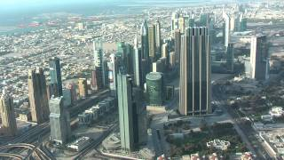 widok Dubaju z Burj Khalifa - 124 piętro