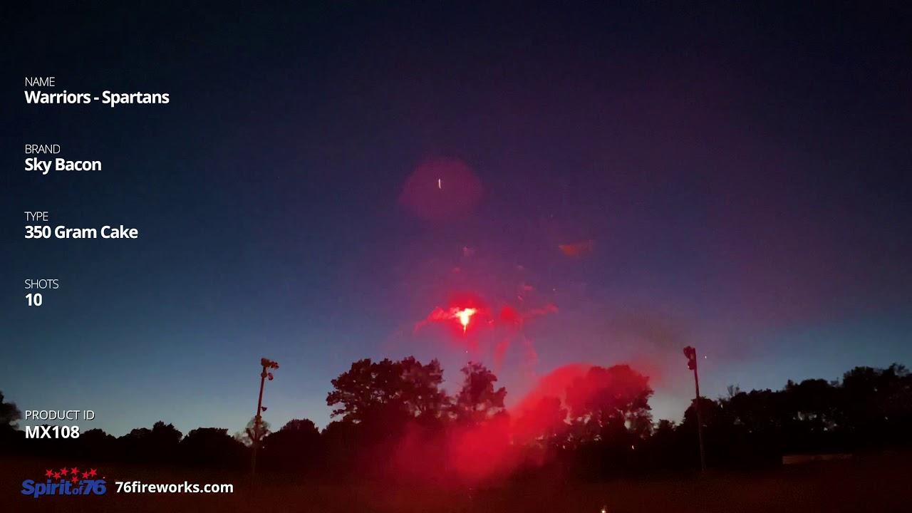 MX108 Warriors Assortment - 10 shot 350 Gram Cakes - Sky Bacon Fireworks