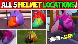 ALL 5 HELMET LOCATIONS for SINGULARITY Skin (Rex, Cuddle, Pizza, Durrr, Drift) - Fortnite Helmets!