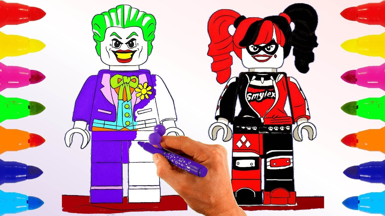 Lego Joker And Harley Quinn Coloring Pages For Kids Learn Colors With Colored Markers For Children Youtube