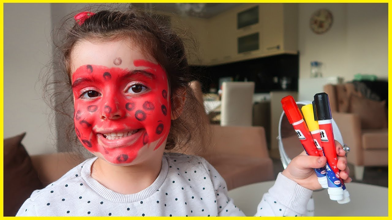 Yüz Boyası Ile Yüzümüzü Boyadık Ve Mucize Uğur Böceği Olduk çok