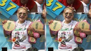 NYホットドッグ早食い大会 女性の部で須藤さんが5連覇を達成: . 見て...