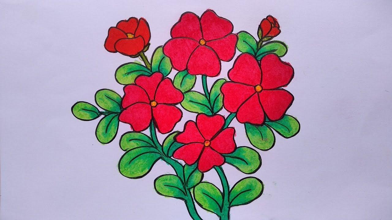 Belajar menggambar bunga yang mudah || Cara menggambar ...