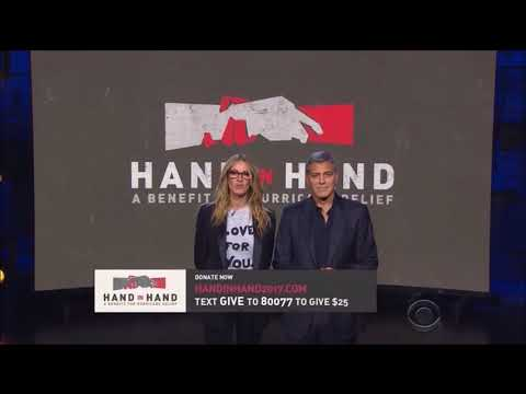 George Clooney and Julia Roberts speak at Hand in Hand benefit for Hurricanes Harvey and Irma.
