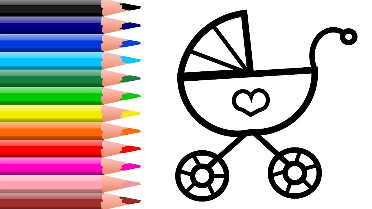 Раскраска для детей КОЛЯСКА. Мультик - Раскраска. Учим ...