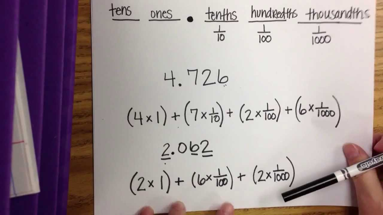 Expanded form with multiplication of decimals youtube falaconquin