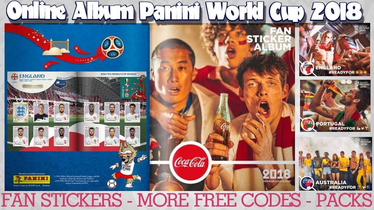 free codes coca cola fan stickers panini fifa world cup 2018