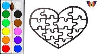 Как нарисовать СЕРДЦЕ ПАЗЛЫ / мультик раскраска ПАЗЛЫ СЕРДЦЕ  для детей / Раскраски малышам