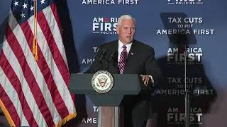 """Vice President Mike Pence speaks at an America First Policies """"Tax Cuts to Put America First"""" event."""