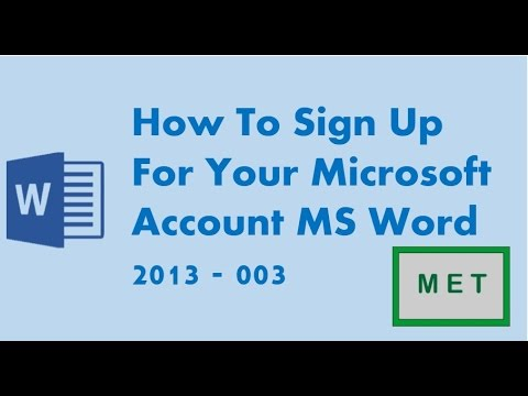 how to sign up for your microsoft account ms word 2013 003 youtube